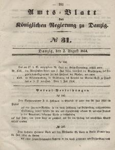 Amts-Blatt der Königlichen Regierung zu Danzig, 2. August 1854, Nr. 31