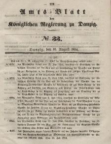 Amts-Blatt der Königlichen Regierung zu Danzig, 16. August 1854, Nr. 33