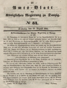 Amts-Blatt der Königlichen Regierung zu Danzig, 23. August 1854, Nr. 34