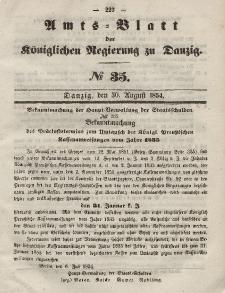 Amts-Blatt der Königlichen Regierung zu Danzig, 30. August 1854, Nr. 35