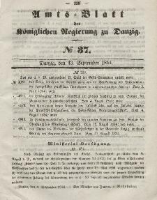 Amts-Blatt der Königlichen Regierung zu Danzig, 13. September 1854, Nr. 37