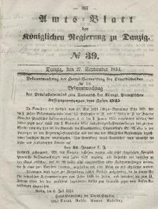 Amts-Blatt der Königlichen Regierung zu Danzig, 27. September 1854, Nr. 39