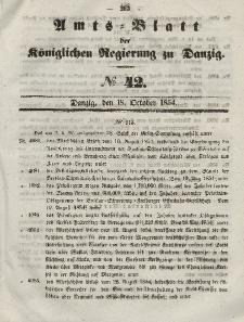 Amts-Blatt der Königlichen Regierung zu Danzig, 18. Oktober 1854, Nr. 42