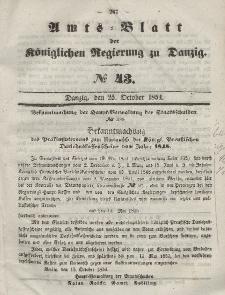 Amts-Blatt der Königlichen Regierung zu Danzig, 25. Oktober 1854, Nr. 43