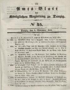 Amts-Blatt der Königlichen Regierung zu Danzig, 8. November 1854, Nr. 45