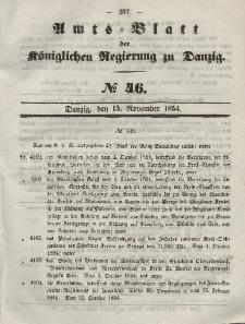 Amts-Blatt der Königlichen Regierung zu Danzig, 15. November 1854, Nr. 46