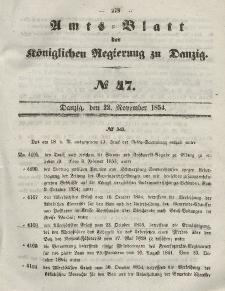Amts-Blatt der Königlichen Regierung zu Danzig, 22. November 1854, Nr. 47