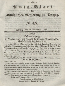 Amts-Blatt der Königlichen Regierung zu Danzig, 29. November 1854, Nr. 48
