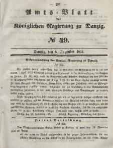 Amts-Blatt der Königlichen Regierung zu Danzig, 6. Dezember 1854, Nr. 49