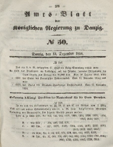 Amts-Blatt der Königlichen Regierung zu Danzig, 13. Dezember 1854, Nr. 50
