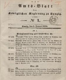 Amts-Blatt der Königlichen Regierung zu Danzig, 2. Januar 1850, Nr. 1
