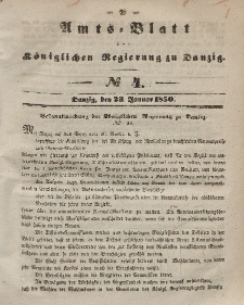 Amts-Blatt der Königlichen Regierung zu Danzig, 23. Januar 1850, Nr. 4