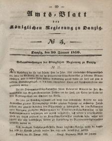Amts-Blatt der Königlichen Regierung zu Danzig, 30. Januar 1850, Nr. 5