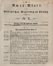 Amts-Blatt der Königlichen Regierung zu Danzig, 13. Februar 1850, Nr. 7