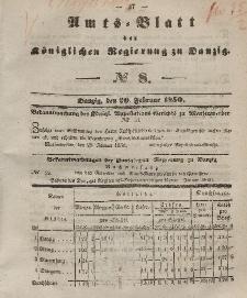 Amts-Blatt der Königlichen Regierung zu Danzig, 20. Februar 1850, Nr. 8