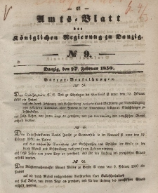 Amts-Blatt der Königlichen Regierung zu Danzig, 27. Februar 1850, Nr. 9