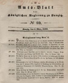Amts-Blatt der Königlichen Regierung zu Danzig, 6. März 1850, Nr. 10