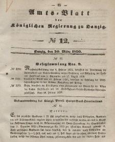Amts-Blatt der Königlichen Regierung zu Danzig, 20. März 1850, Nr. 12