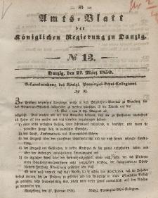 Amts-Blatt der Königlichen Regierung zu Danzig, 27. März 1850, Nr. 13