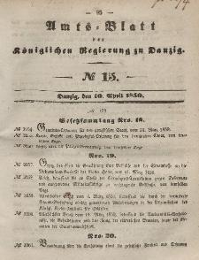Amts-Blatt der Königlichen Regierung zu Danzig, 10. April 1850, Nr. 15