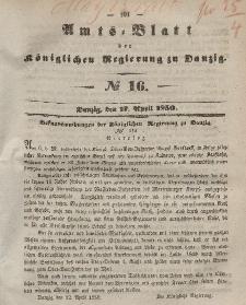 Amts-Blatt der Königlichen Regierung zu Danzig, 17. April 1850, Nr. 16