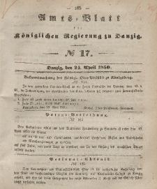 Amts-Blatt der Königlichen Regierung zu Danzig, 24. April 1850, Nr. 17