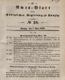 Amts-Blatt der Königlichen Regierung zu Danzig, 1. Mai 1850, Nr. 18
