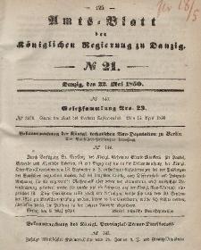 Amts-Blatt der Königlichen Regierung zu Danzig, 22. Mai 1850, Nr. 21