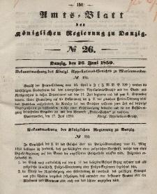 Amts-Blatt der Königlichen Regierung zu Danzig, 26. Juni 1850, Nr. 26
