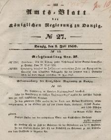 Amts-Blatt der Königlichen Regierung zu Danzig, 3. Juli 1850, Nr. 27