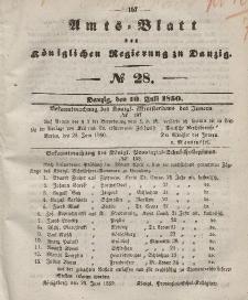 Amts-Blatt der Königlichen Regierung zu Danzig, 10. Juli 1850, Nr. 28