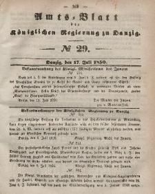 Amts-Blatt der Königlichen Regierung zu Danzig, 17. Juli 1850, Nr. 29