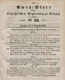 Amts-Blatt der Königlichen Regierung zu Danzig, 7. August 1850, Nr. 32