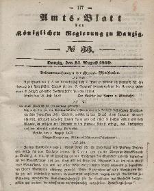 Amts-Blatt der Königlichen Regierung zu Danzig, 14. August 1850, Nr. 33