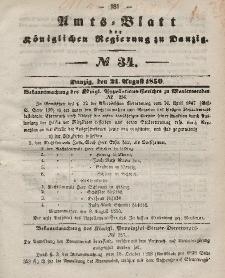 Amts-Blatt der Königlichen Regierung zu Danzig, 21. August 1850, Nr. 34