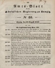 Amts-Blatt der Königlichen Regierung zu Danzig, 28. August 1850, Nr. 35