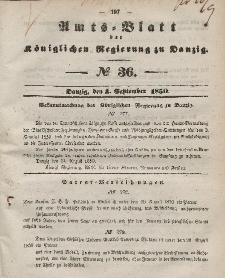 Amts-Blatt der Königlichen Regierung zu Danzig, 4. September 1850, Nr. 36