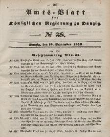 Amts-Blatt der Königlichen Regierung zu Danzig, 18. September 1850, Nr. 38