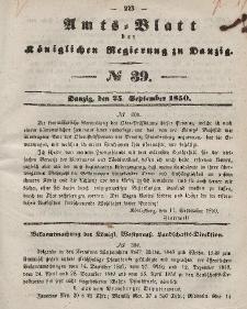 Amts-Blatt der Königlichen Regierung zu Danzig, 25. September 1850, Nr. 39