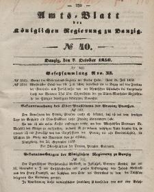 Amts-Blatt der Königlichen Regierung zu Danzig, 2. Oktober 1850, Nr. 40