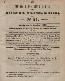 Amts-Blatt der Königlichen Regierung zu Danzig, 9. Oktober 1850, Nr. 41