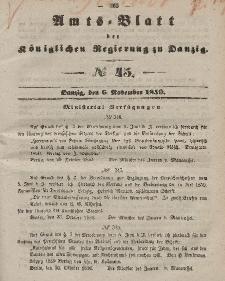 Amts-Blatt der Königlichen Regierung zu Danzig, 6. November 1850, Nr. 45