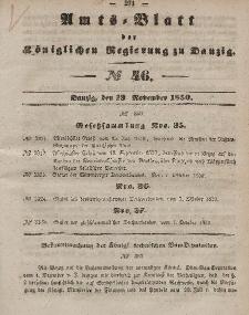 Amts-Blatt der Königlichen Regierung zu Danzig, 13. November 1850, Nr. 46