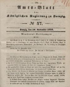 Amts-Blatt der Königlichen Regierung zu Danzig, 20. November 1850, Nr. 47