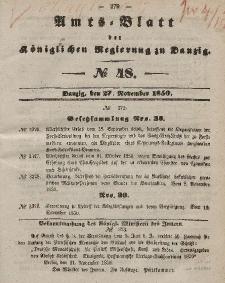 Amts-Blatt der Königlichen Regierung zu Danzig, 27. November 1850, Nr. 48