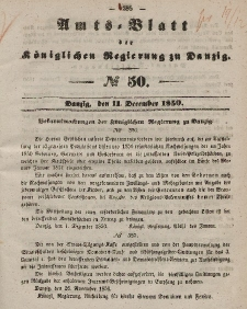Amts-Blatt der Königlichen Regierung zu Danzig, 11. Dezember 1850, Nr. 50