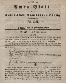 Amts-Blatt der Königlichen Regierung zu Danzig, 18. Dezember 1850, Nr. 51
