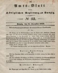 Amts-Blatt der Königlichen Regierung zu Danzig, 25. Dezember 1850, Nr. 52