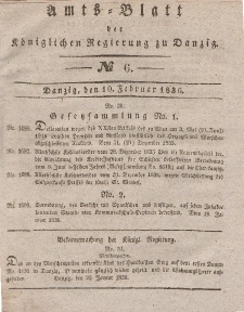 Amts-Blatt der Königlichen Regierung zu Danzig, 10. Februar 1836, Nr. 6