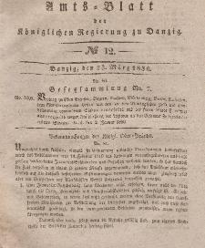 Amts-Blatt der Königlichen Regierung zu Danzig, 23. März 1836, Nr. 12